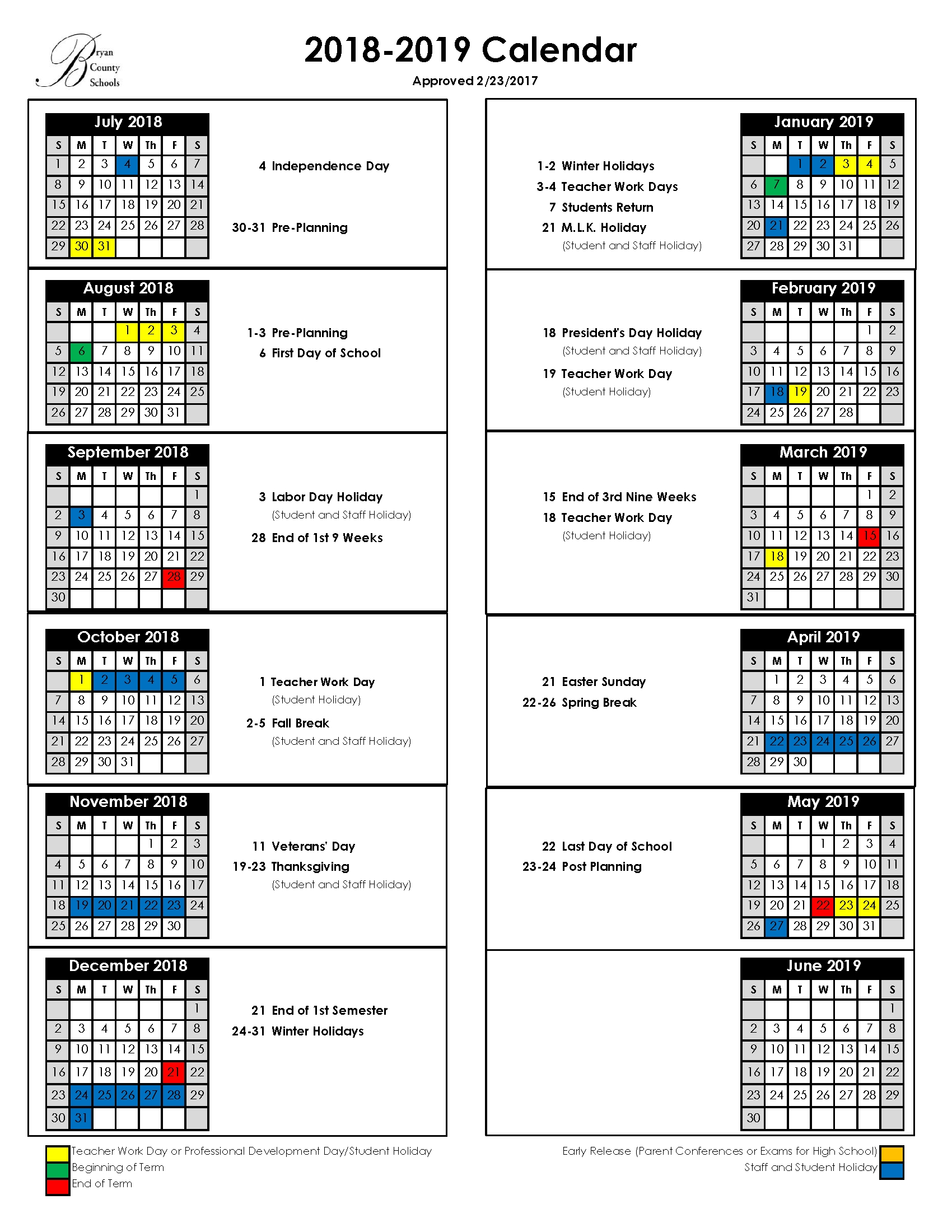 Bryan County Schools Calendar 2019 Thanksgiving