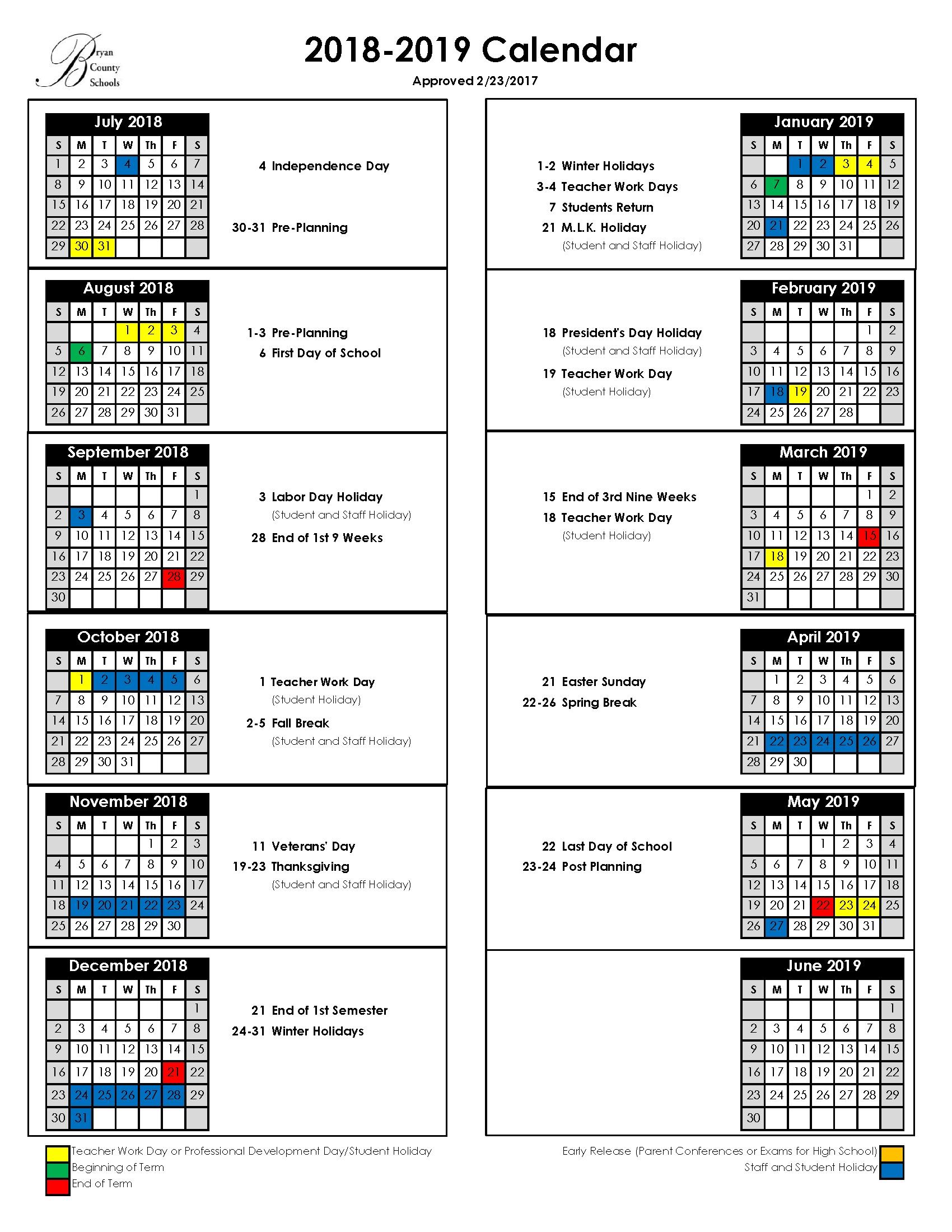 Bryan County Schools School Calendar 2019 20