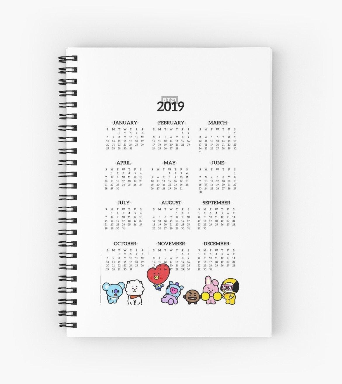"""Bt21 2019 Calendar"""" Spiral Notebooksmitarashidango   Redbubble Calendar 2019 Notebook"""