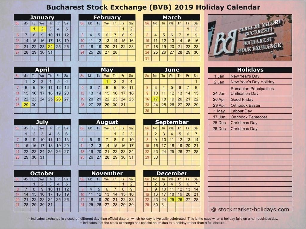 Bucharest Stock Exchange 2019 / 2020 Holidays : Bvb Holidays 2019 / 2020 Calendar 2019 Romania Pdf