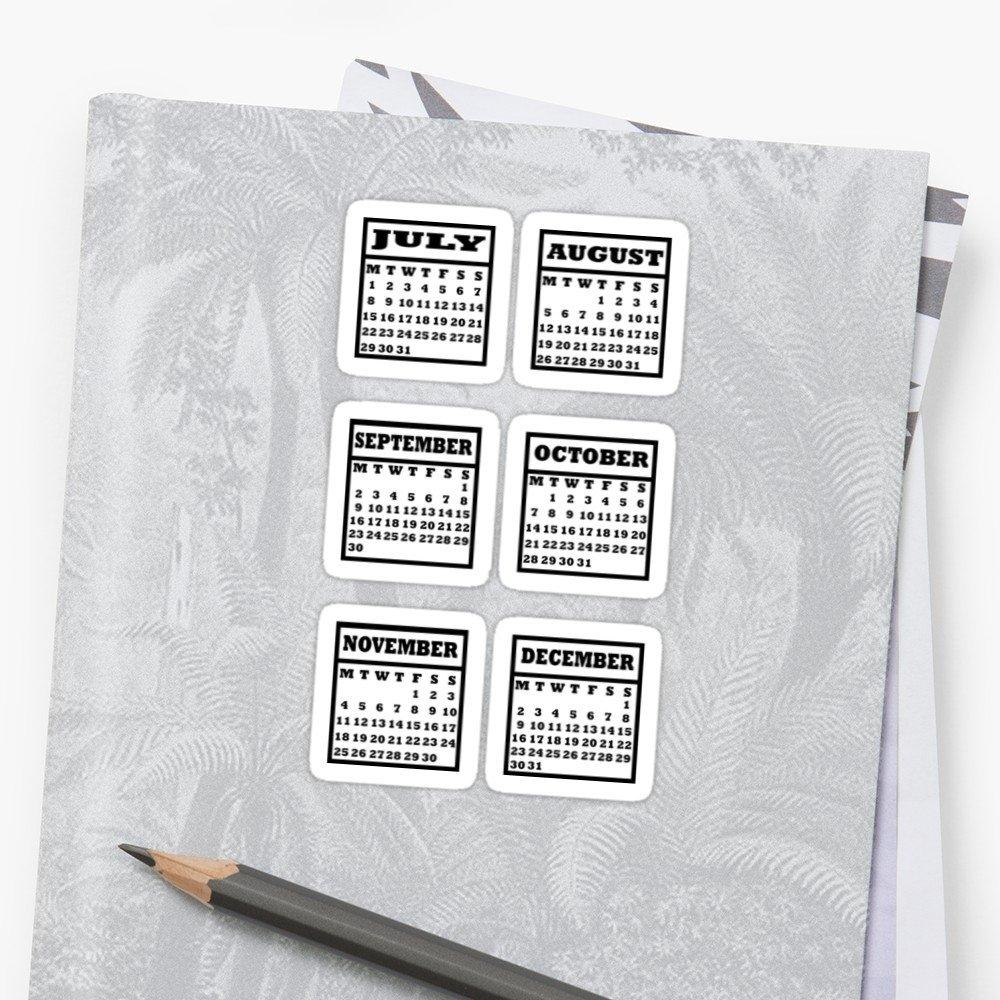 """Bullet Journal Calendar July December 2019"""" Stickersraicyrose Calendar 2019 Stickers"""