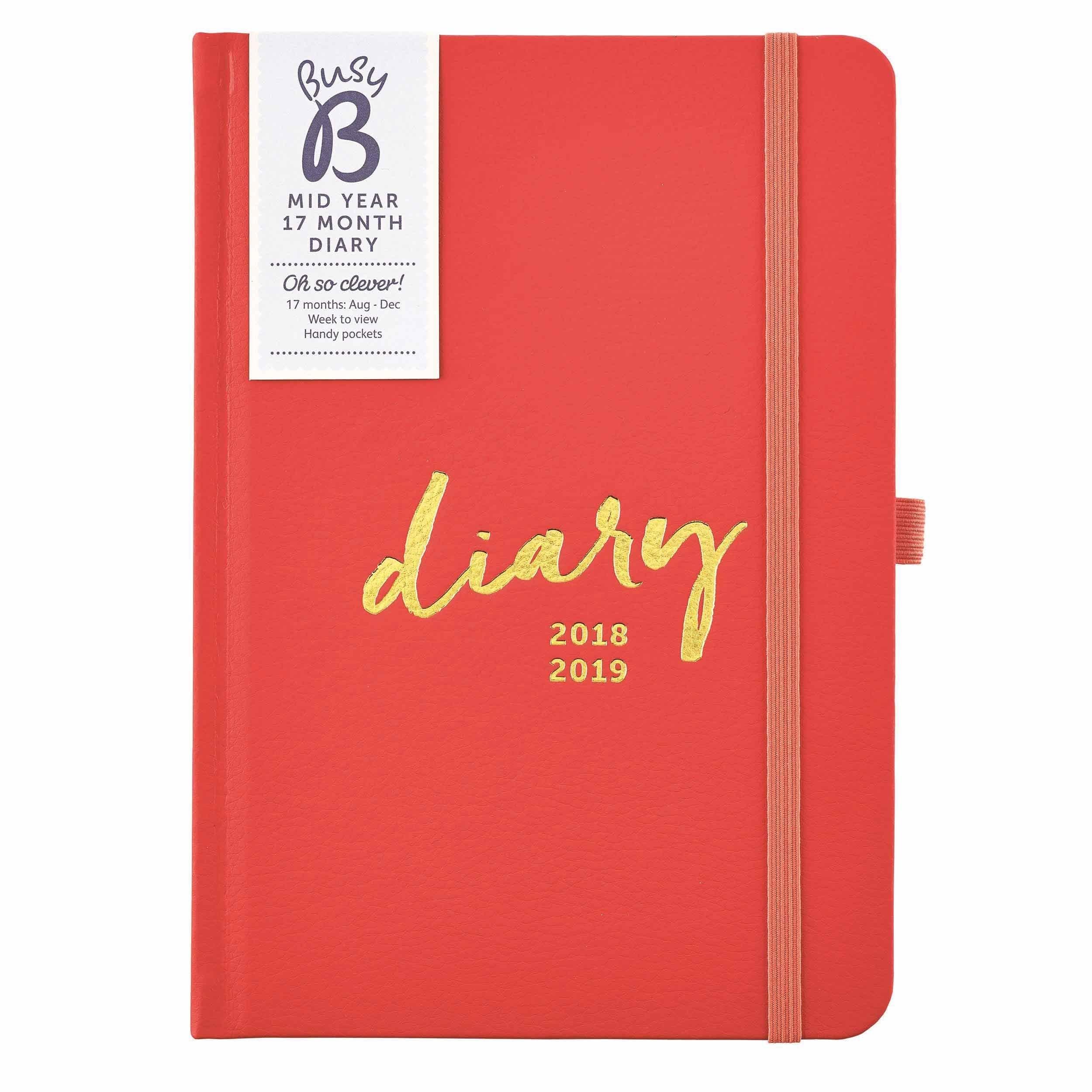 Busy B Mid Year A5 Diary 2018 – 2019 | 2017 Calendars In 2018 Busy B Calendar 2019