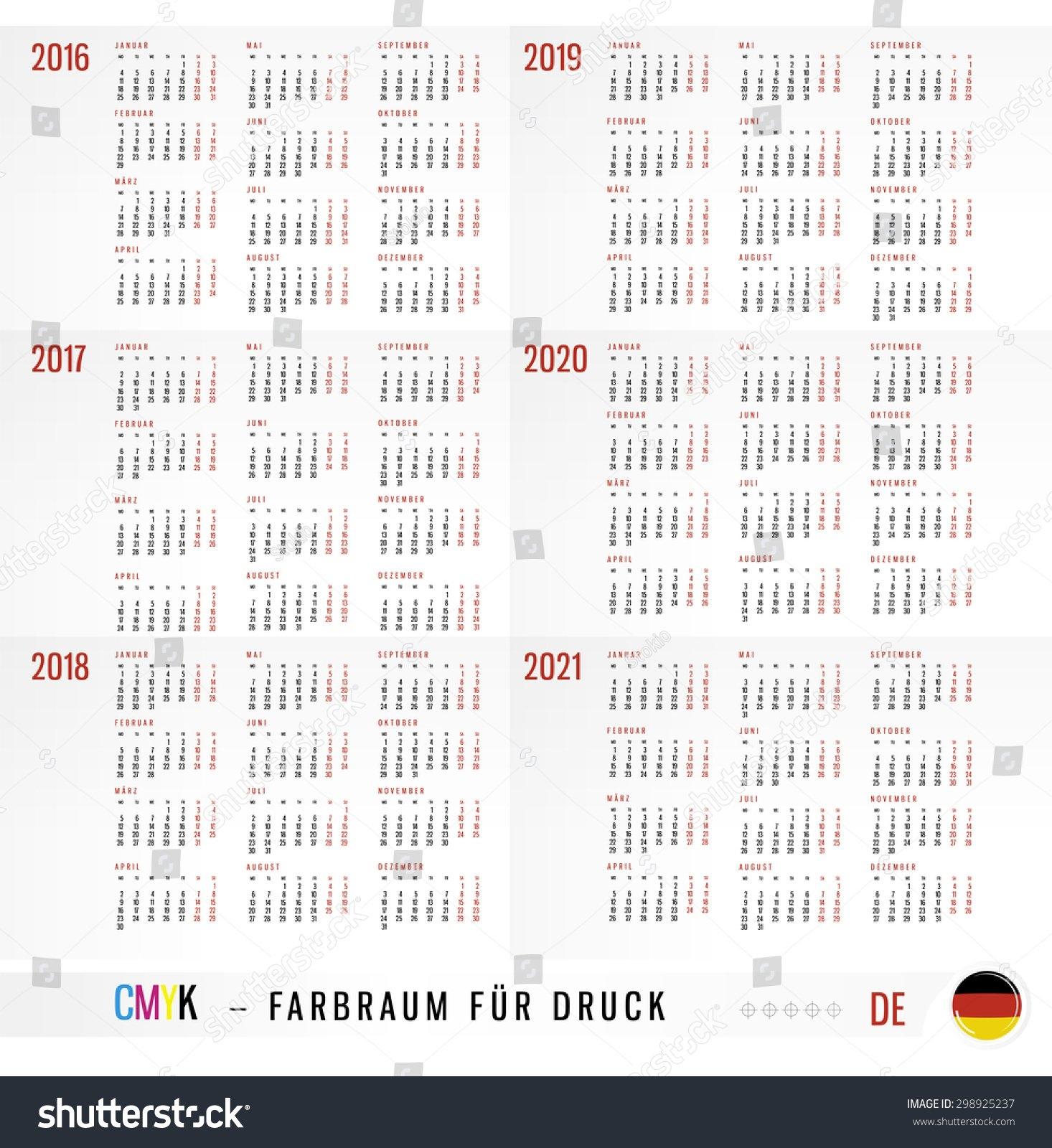 Calendar 2016 2017 2018 2019 2020 Stock Vector (Royalty Free 3 Column Calendar 2019