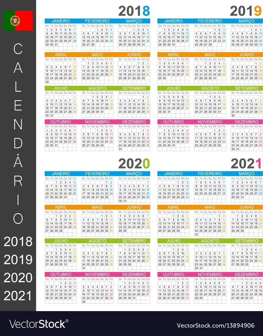 Calendar 2018 2019 2020 2021 Royalty Free Vector Image Calendar 2019 Qu