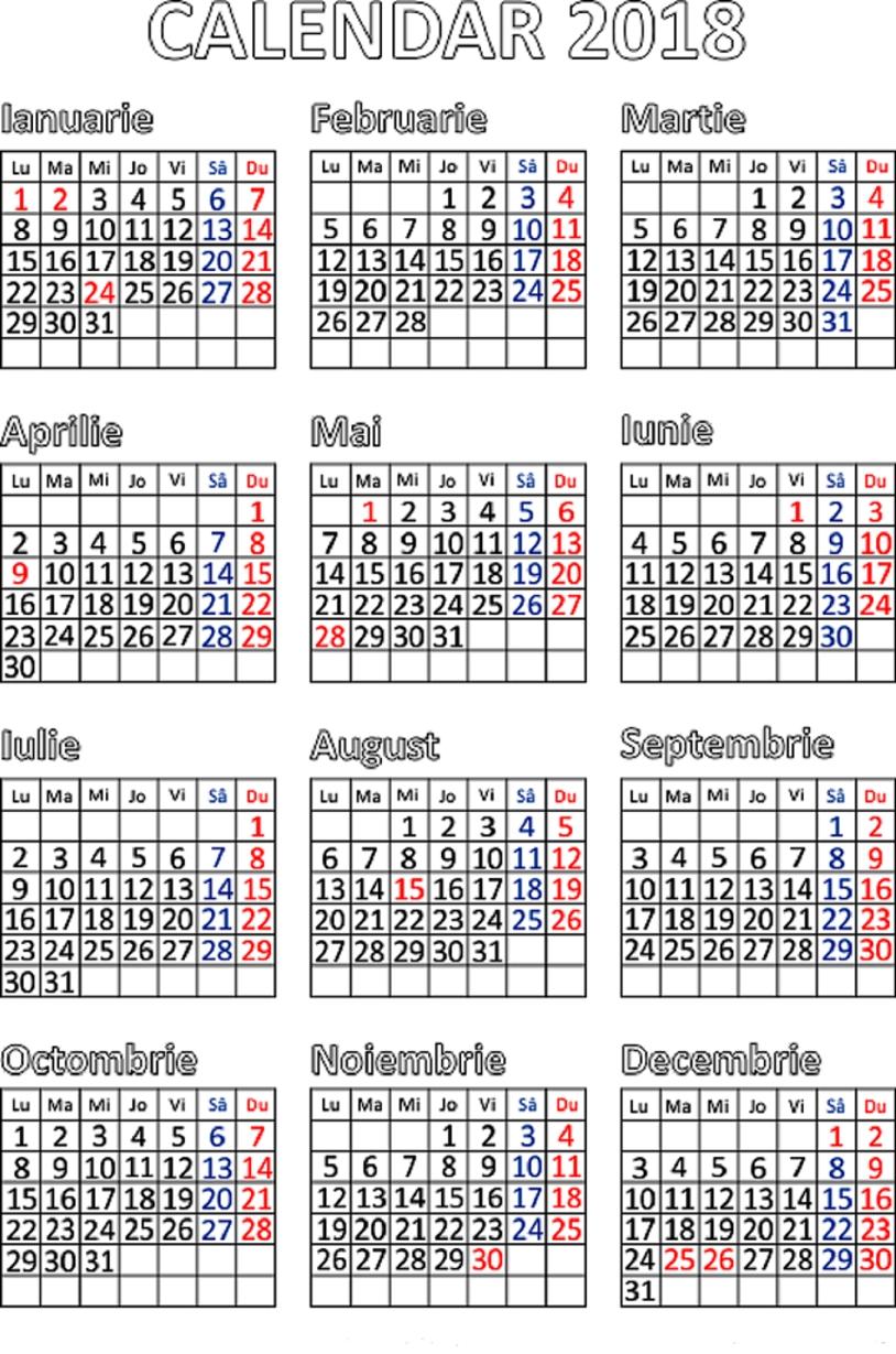 Calendar 2018 Romanesc Cu Sarbatori Legale   Calendar Template Calendar 2019 Romania Cu Sarbatori Legale