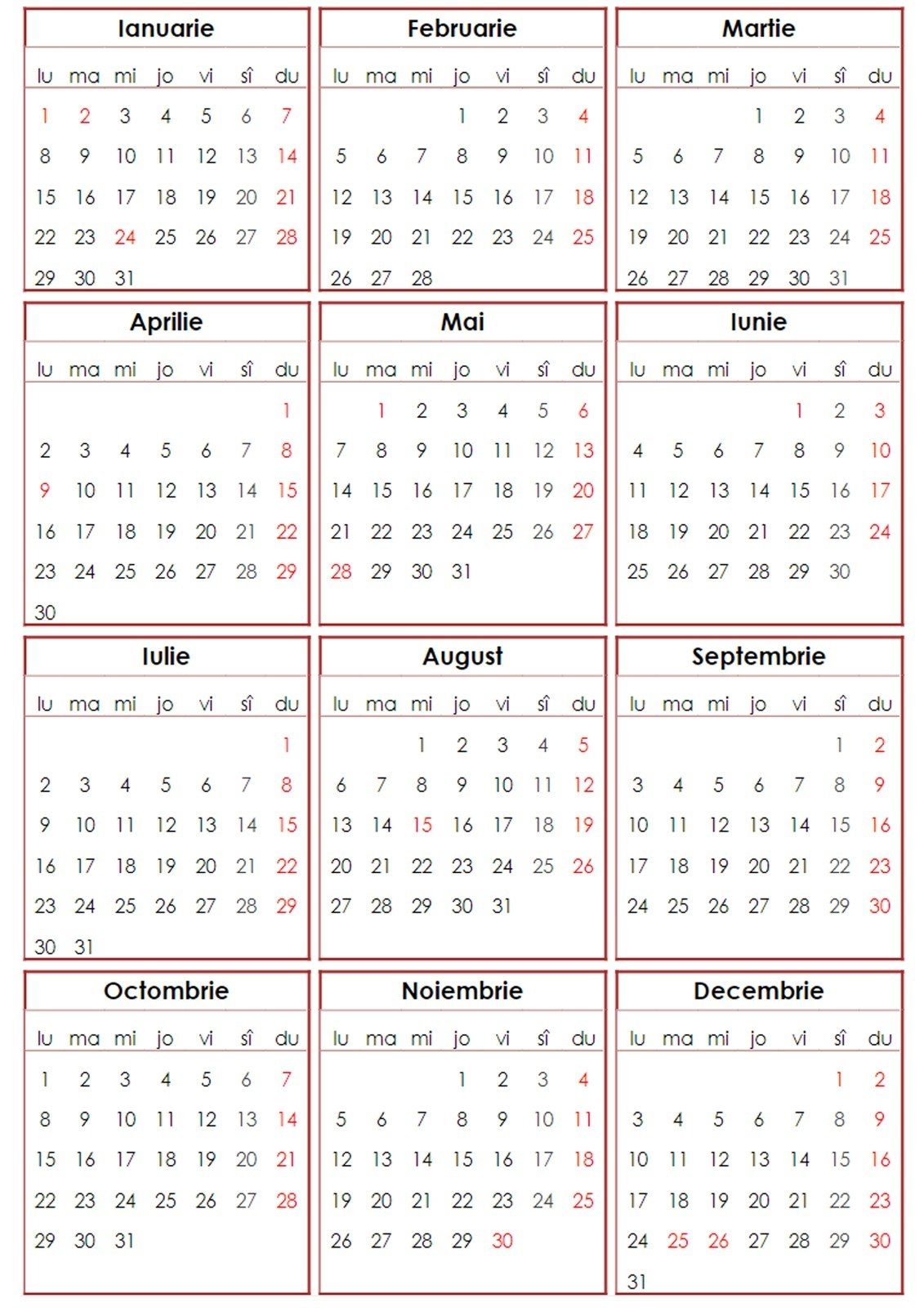 Calendar 2018 Romanesc – De Printat – Pdf, Png | Softulescu Calendar 2019 Romania Pdf