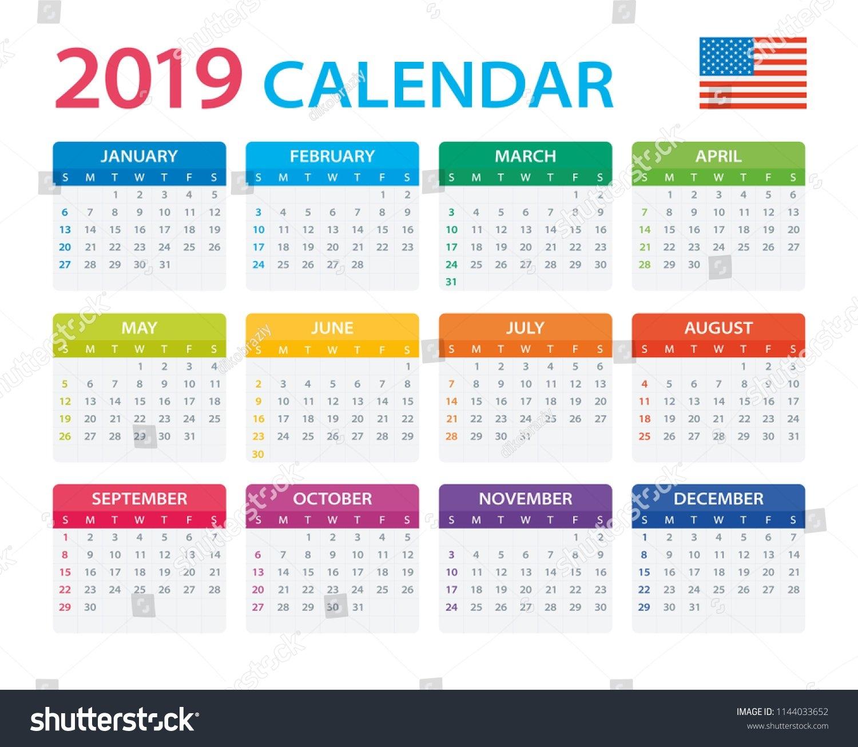 Calendar 2019 American Version Vector Illustration Stock Vector Calendar 2019 America