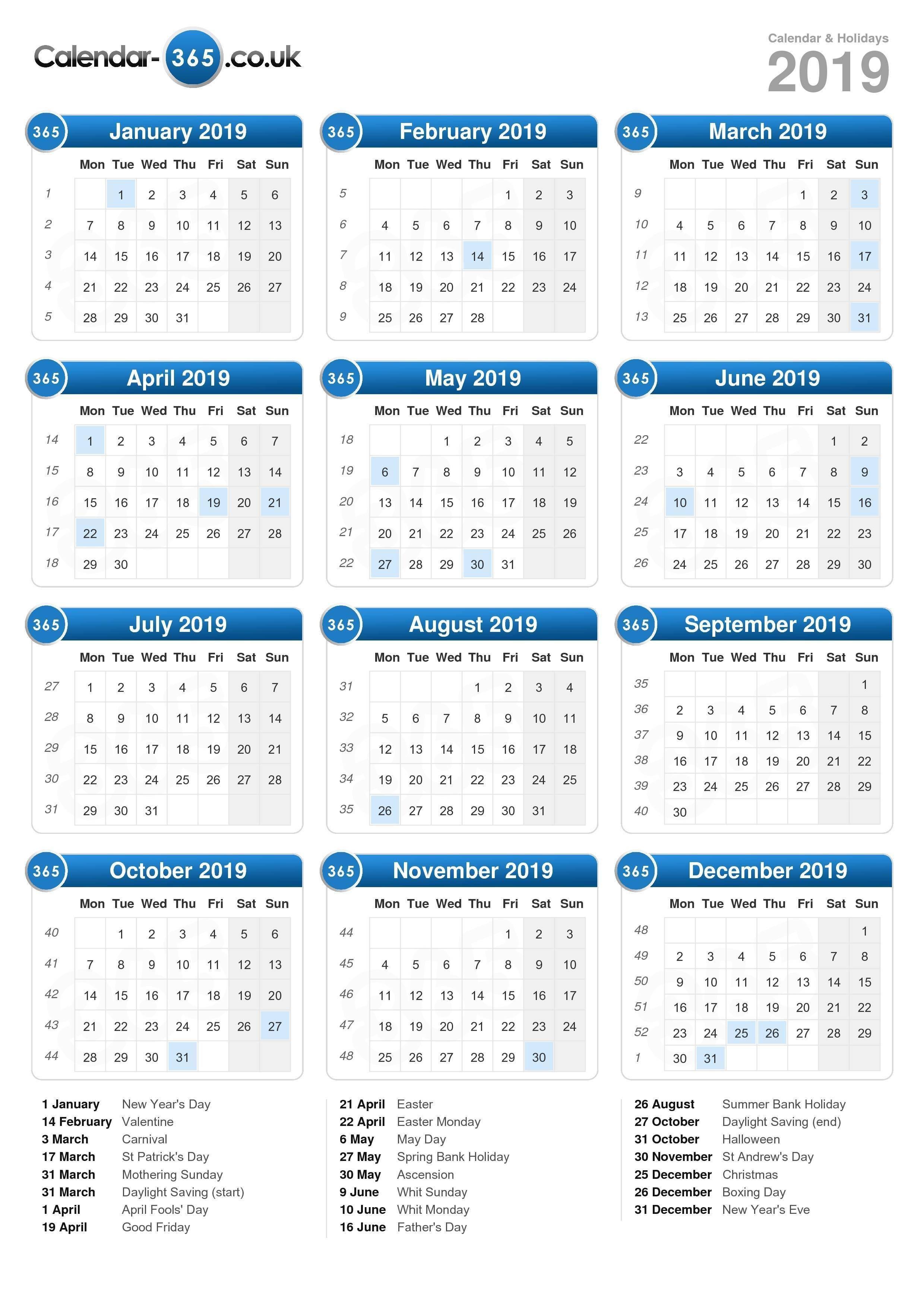Calendar 2019 Calendar 2019 Bank Holidays