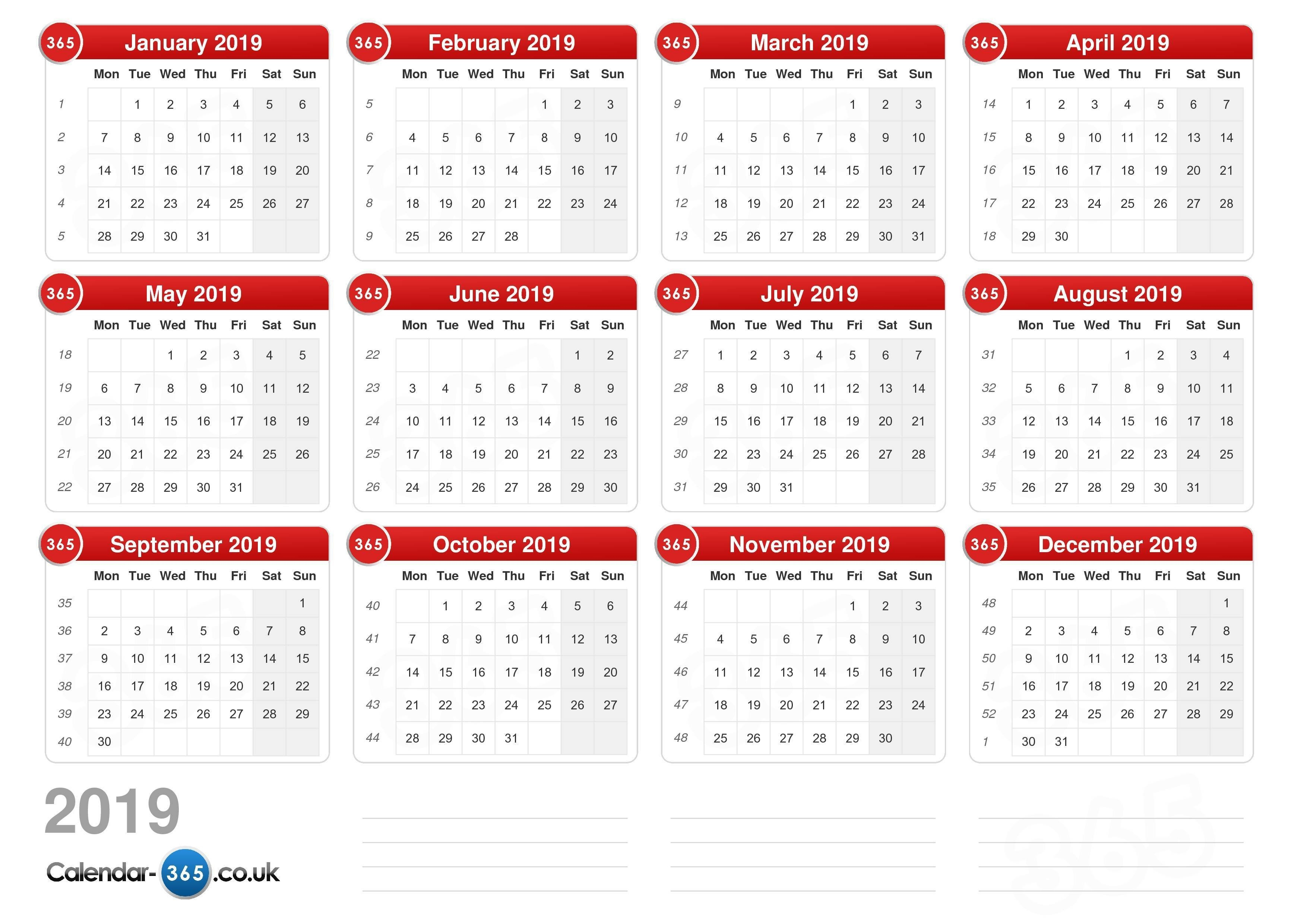 Calendar 2019 Calendar 2019 National Holidays