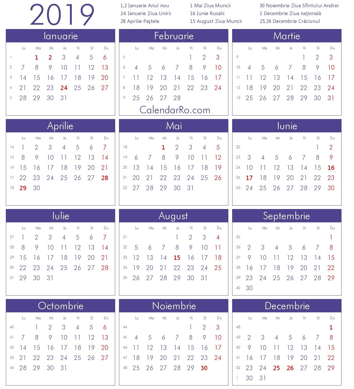 Calendar 2019 Calendar 2019 Romania Pdf