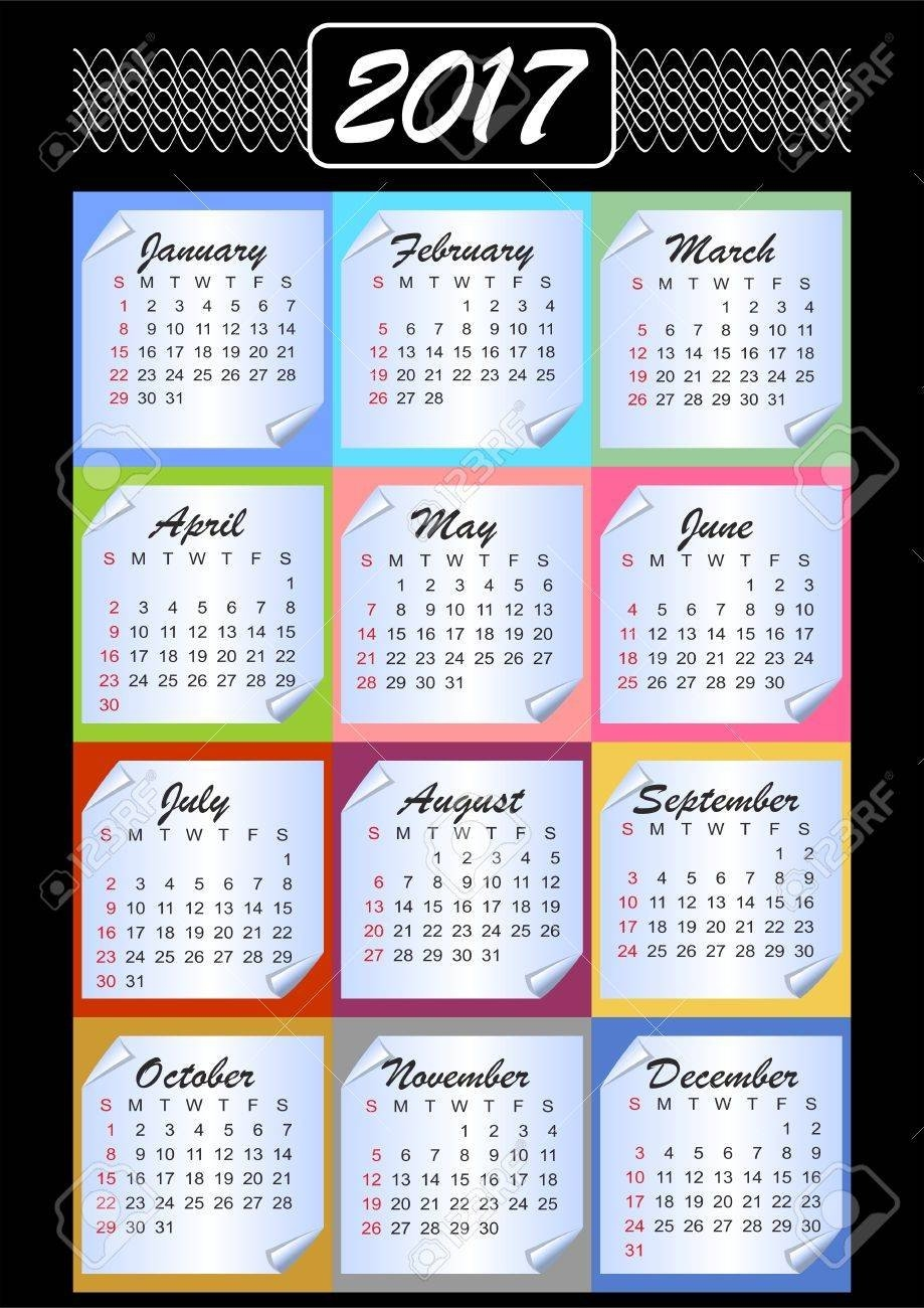 Calendar 2019, Calendarium On Memory Blocks, Multicolored Background Calendar 2019 Outline