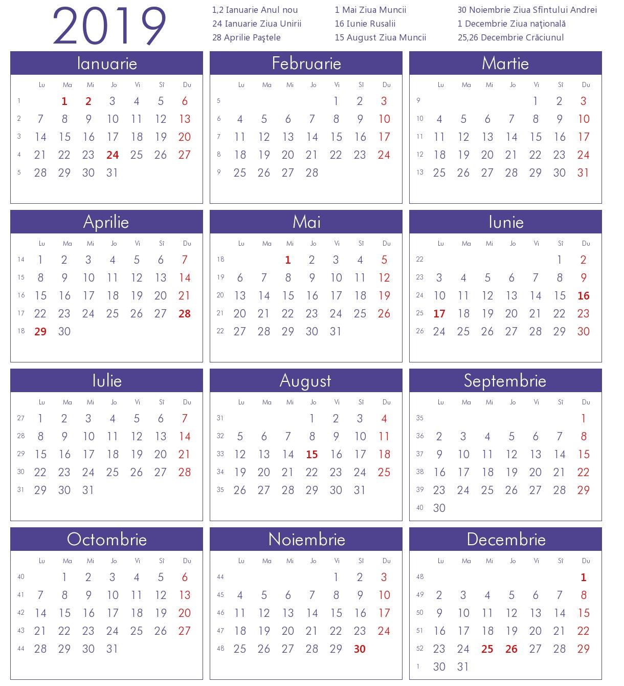 Calendar 2019 Cu Sarbatori Legale Romania Calendar 2019 Romania Cu Sarbatori Legale