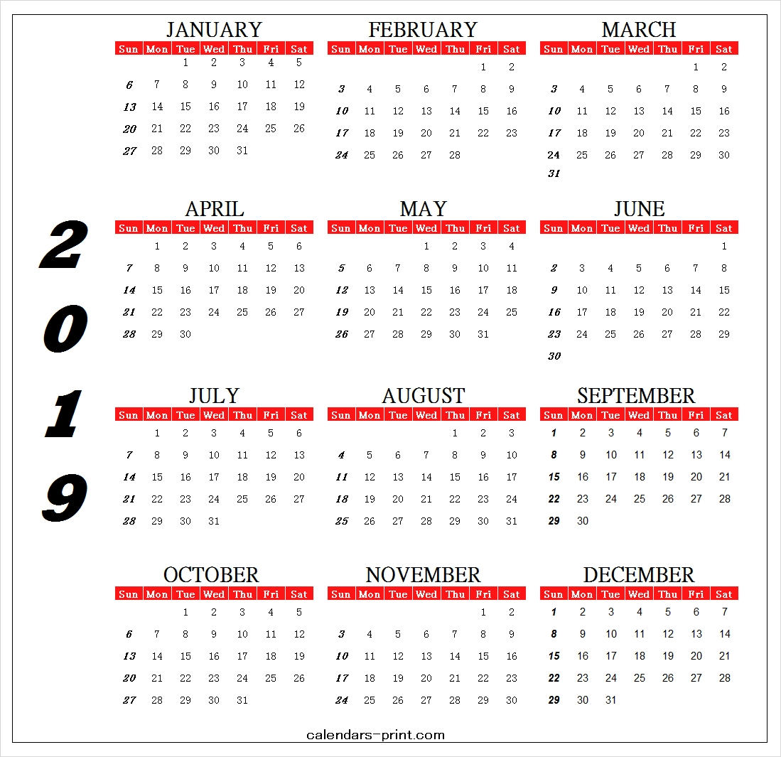 Calendar 2019 Design Template Printable Archives – Calendar To Print Calendar 2019 One Page Printable