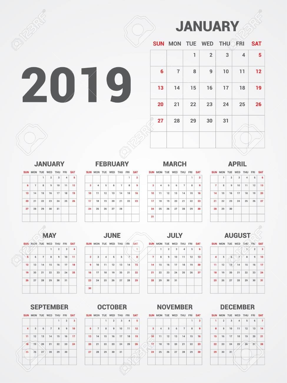 Calendar 2019. Eps 10. Royalty Free Cliparts, Vectors, And Stock Calendar 2019 Eps