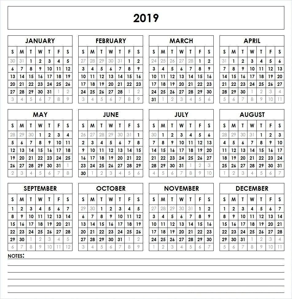 Calendar 2019 Free Printable | Calendar 2019 Printable | Pinterest Print A Calendar 2019 Free