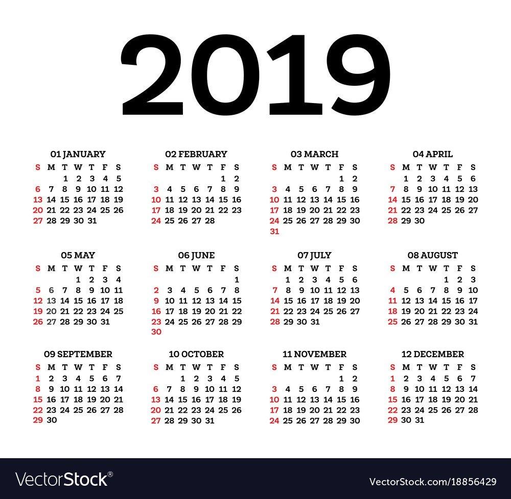 Calendar 2019 Isolated On White Background Week Vector Image Calendar 2019 Illustrator