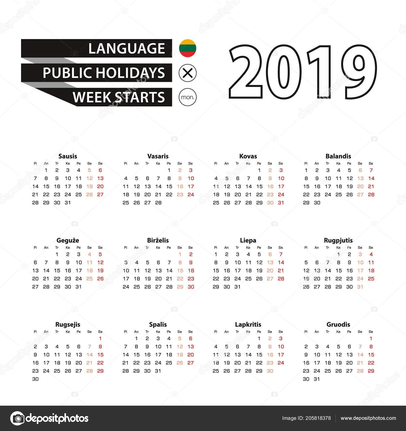 Calendar 2019 Lithuanian Language Week Starts Monday Vector Calendar Calendar 2019 Ke