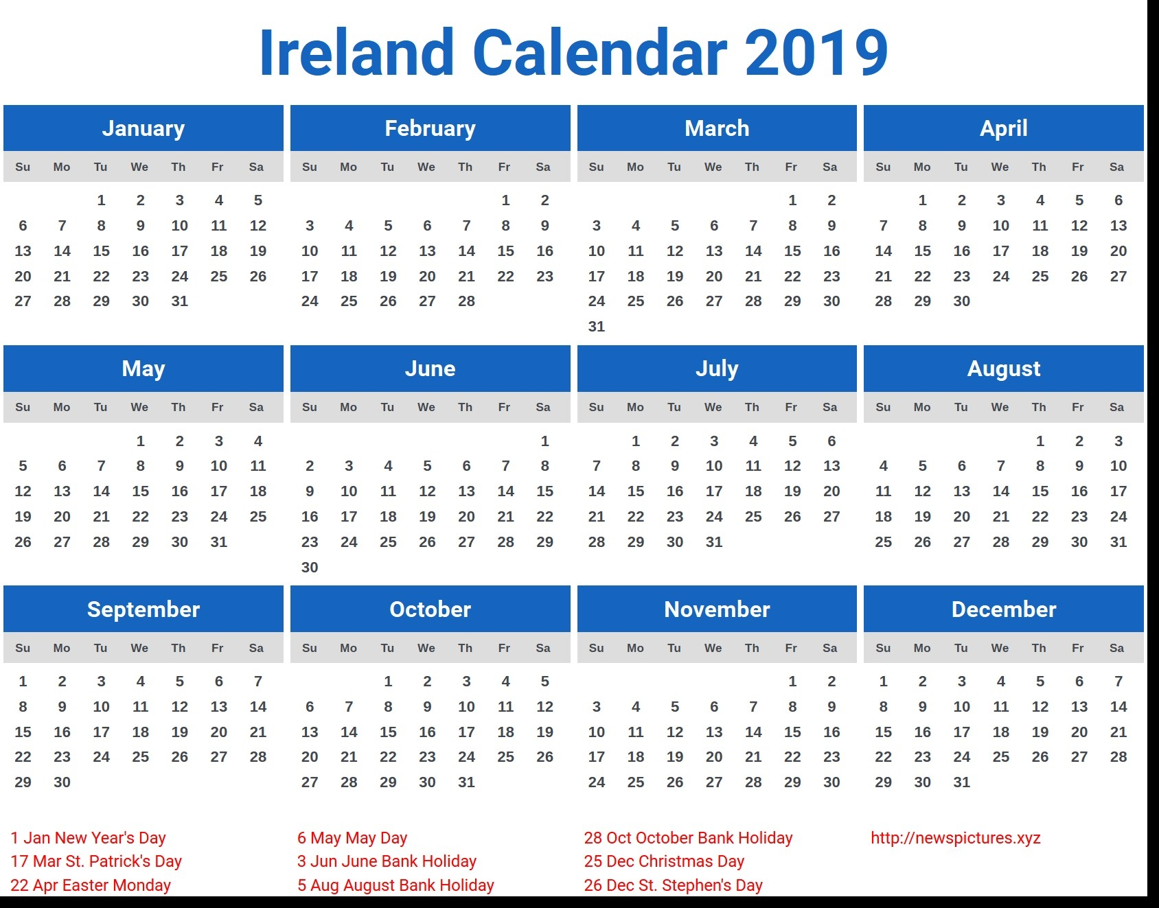 Calendar 2019 Malaysia With Holidays Calendar 2019 Ireland Free Calendar 2019 Ireland