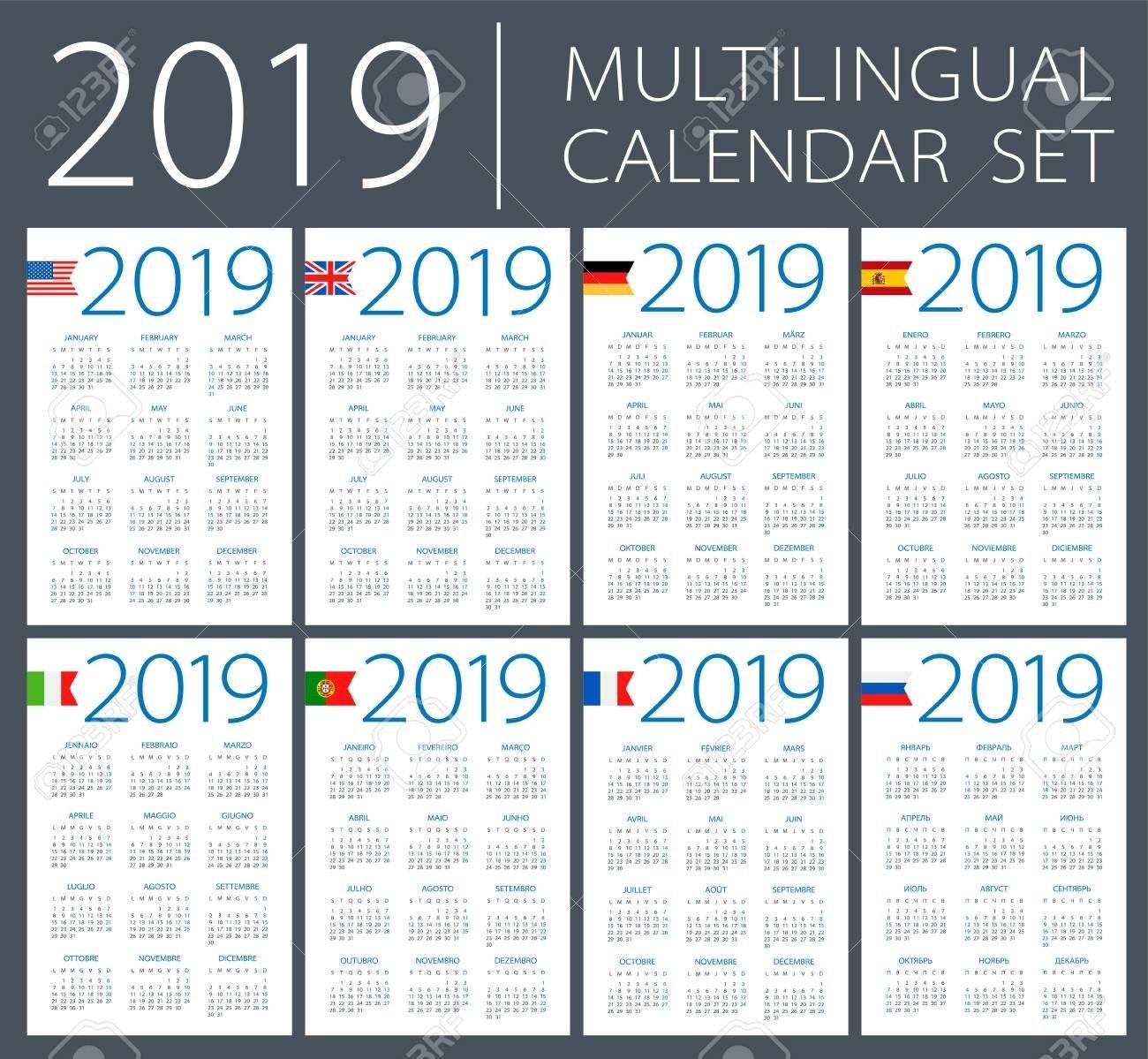 Calendar 2019 Set – English, American, Spanish, German, Portuguese Calendar 2019 America