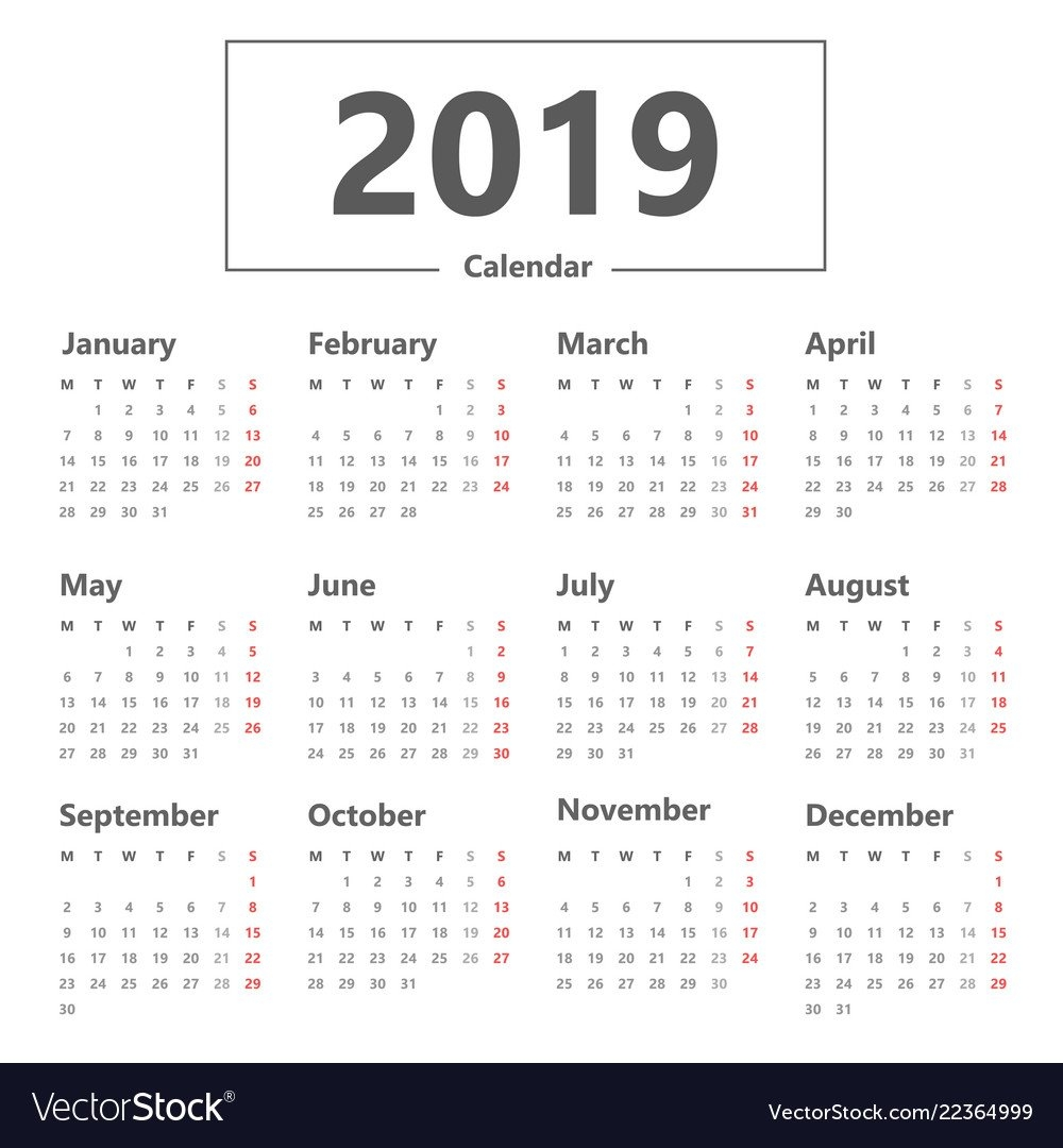 Calendar 2019 Simple Style Week Starts Monday Vector Image Week 5 Calendar 2019