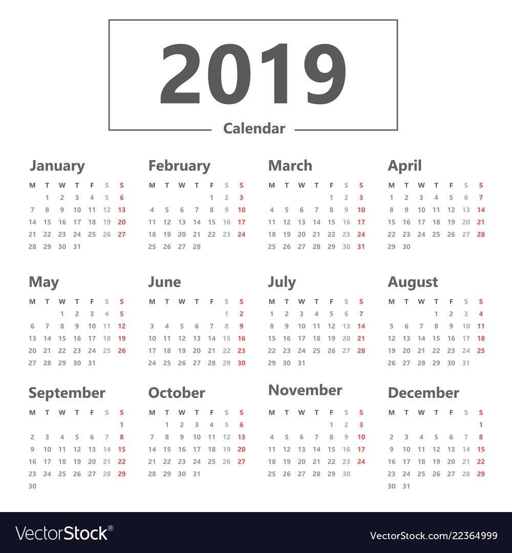 Calendar 2019 Simple Style Week Starts Monday Vector Image Week 7 Calendar 2019