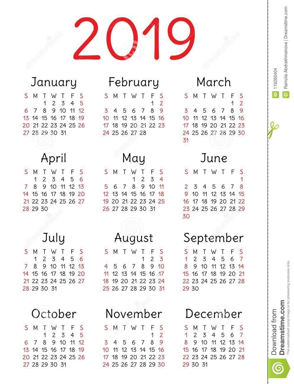 Calendar 2019. Template, Base. Week Starts On Sunday Stock Vector Week 5 Calendar 2019