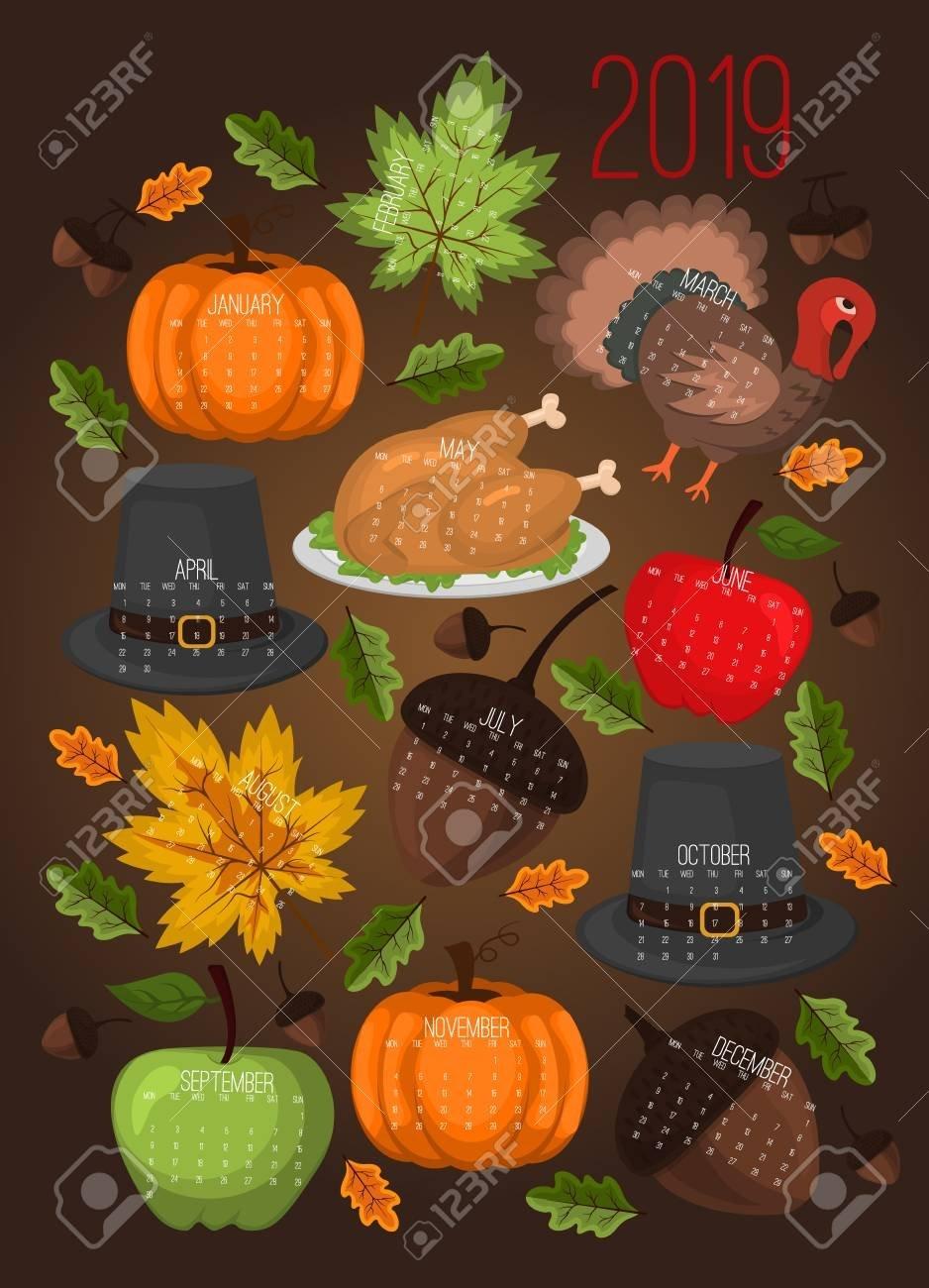 Calendar 2019 Thanksgiving Day Poster Autumn Harvest Food Festival Calendar 2019 Thanksgiving