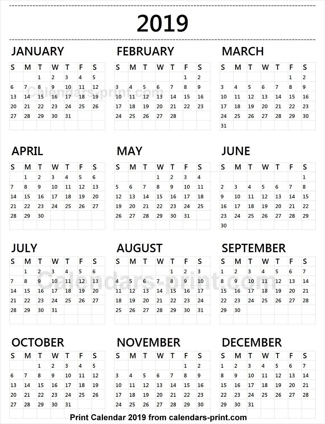 Calendar 2019 Tumblr To Print Free   Download Blank Pdf Template Calendar 2019 Print Free