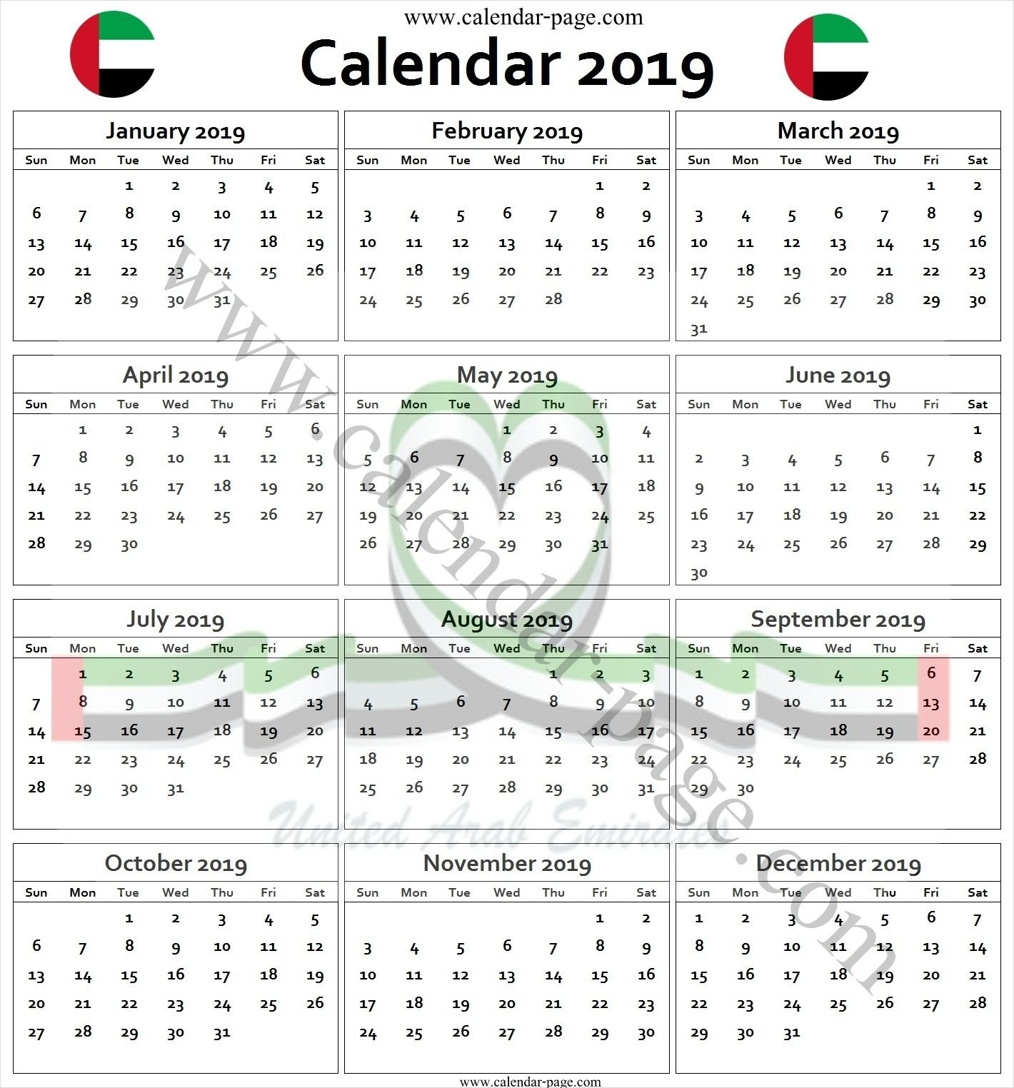 Calendar 2019 Uae Pdf | 2019 Calendar Template | Pinterest U A E Calendar 2019