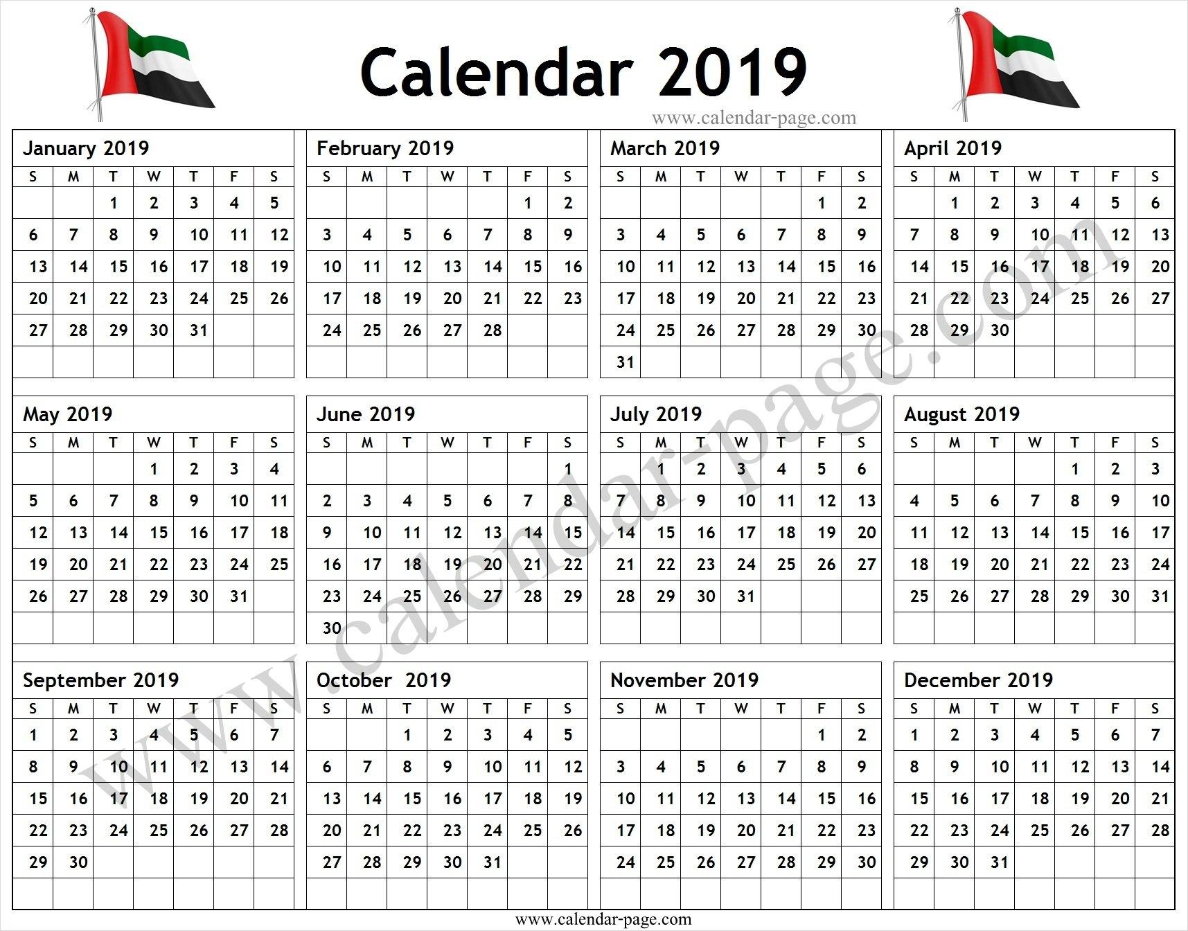 Calendar 2019 Uae Pdf – Blank Calendar 2019 Template U A E Calendar 2019