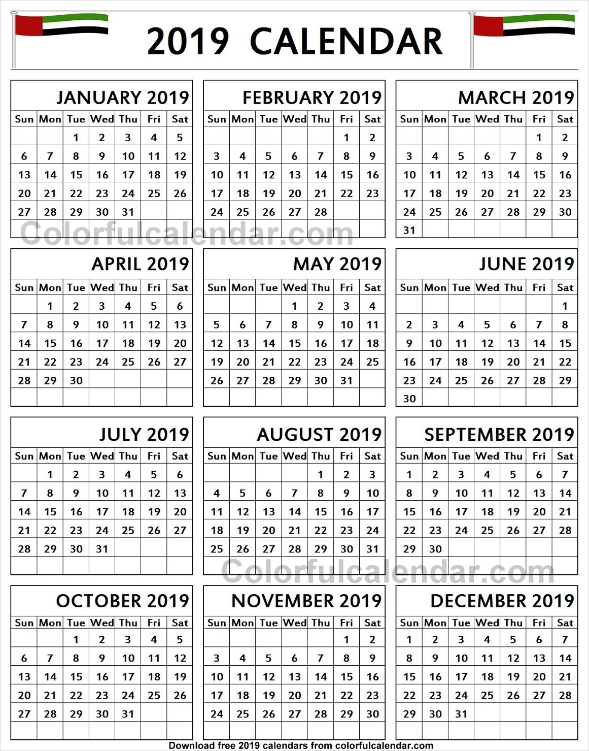 Calendar 2019 Uae Pdf Printable Template With Notes | Holidays U A E Calendar 2019