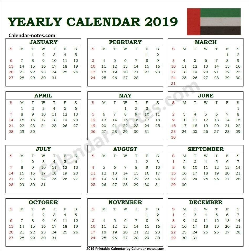 Calendar 2019 Uae With Holidays | Uae Calendar 2019 | Pinterest U A E Calendar 2019