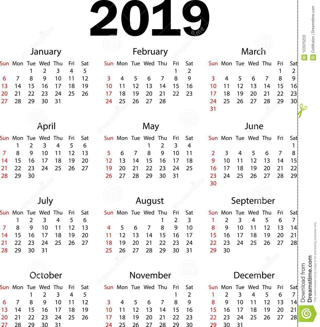 Calendar 2019.vector Illustration Stock Vector – Illustration Of Calendar 2019 In Weeks
