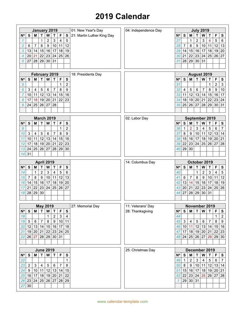 Calendar 2019 With Months In Columns 2 Column Calendar 2019