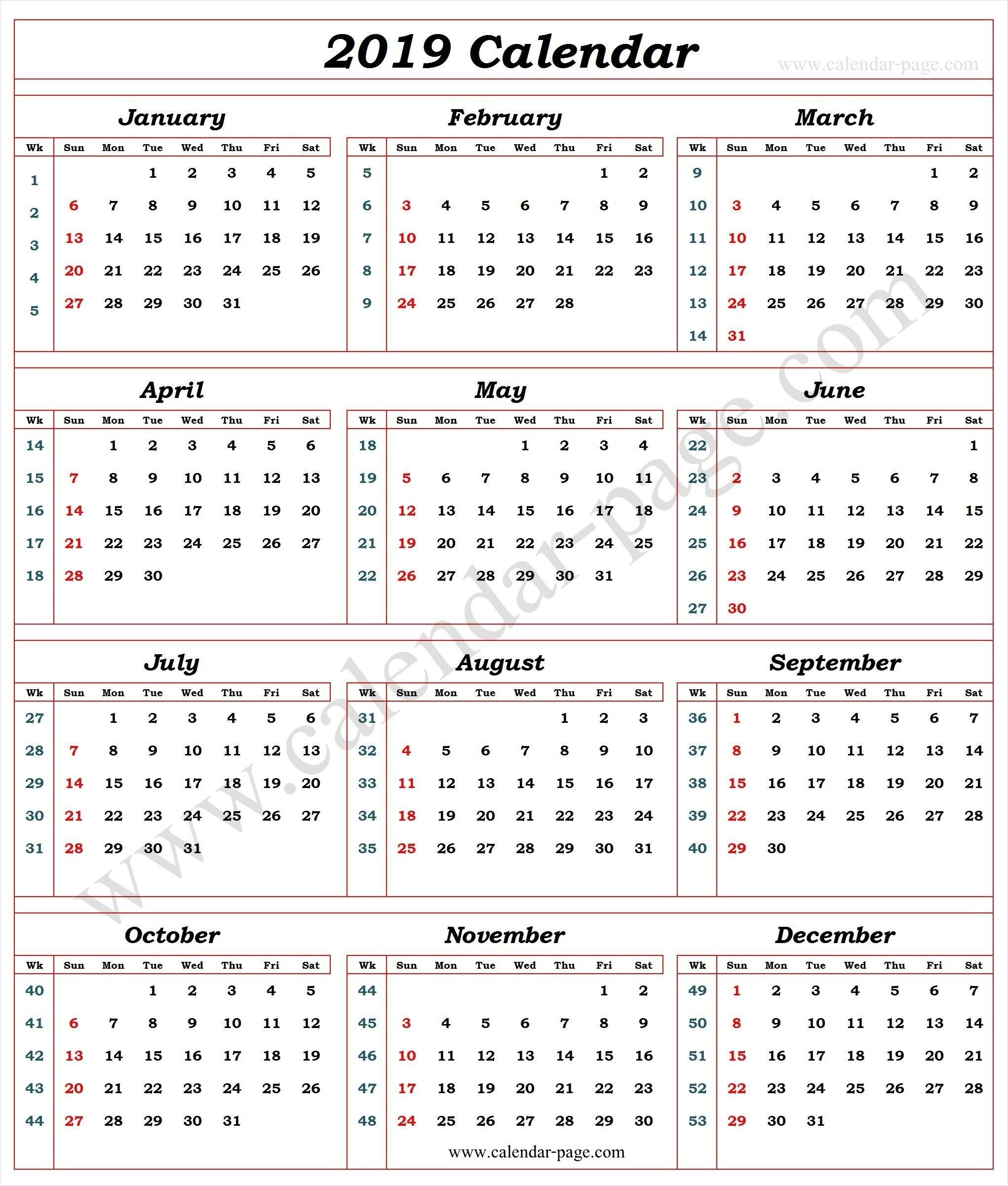 Calendar 2019 With Week Numbers   2019 Calendar Template   Pinterest Calendar 2019 By Week