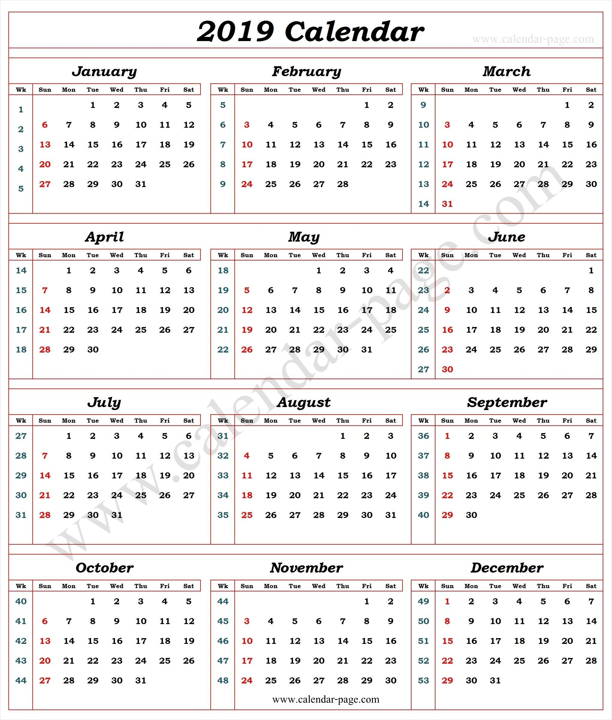 Calendar 2019 With Week Numbers   2019 Calendar Template   Pinterest Calendar Week 4 2019