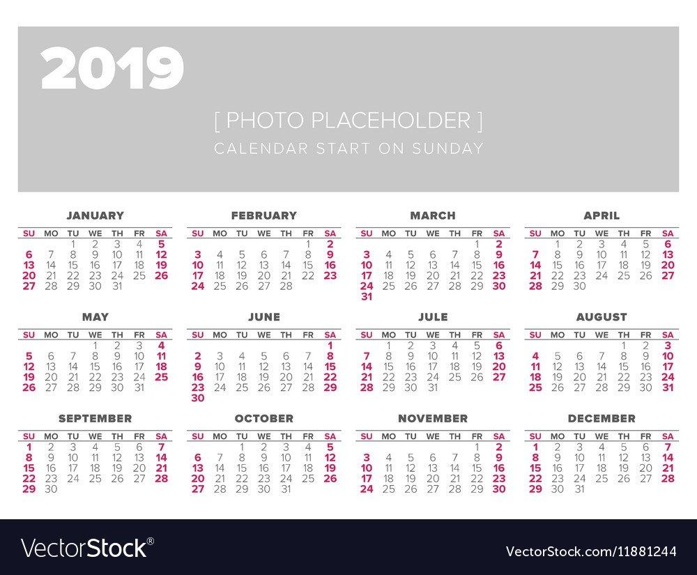 Calendar 2019 Year Design Template Royalty Free Vector Image Calendar 2019 Template Free
