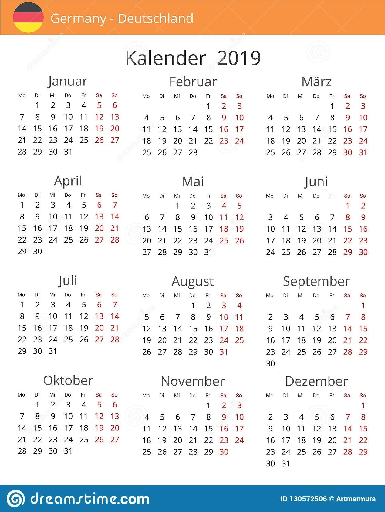 Calendar 2019 Year For Germany Country Stock Illustration Calendar 2019 Germany
