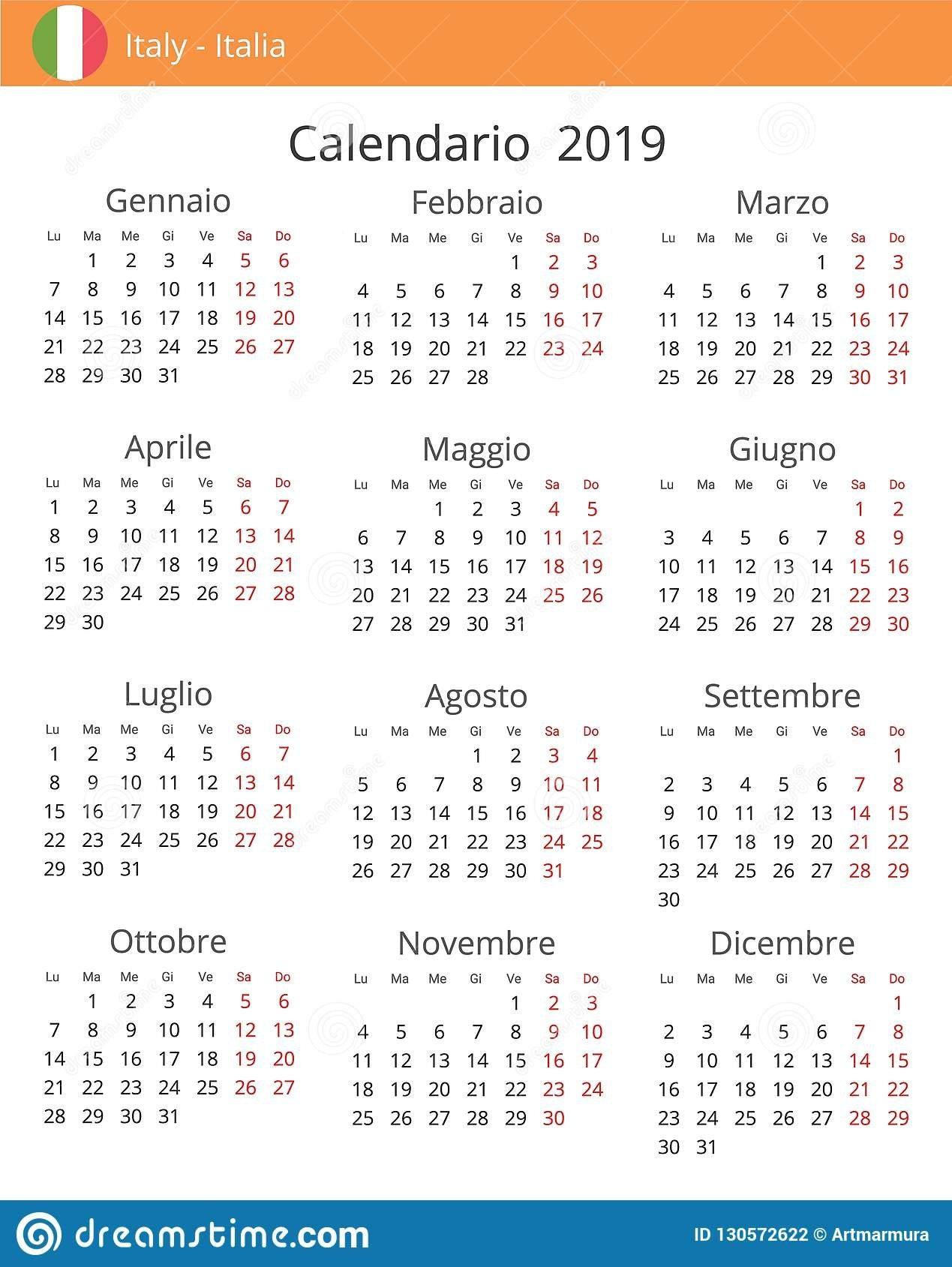 Calendar 2019 Year For Italy Country Stock Illustration Calendar 2019 Italy