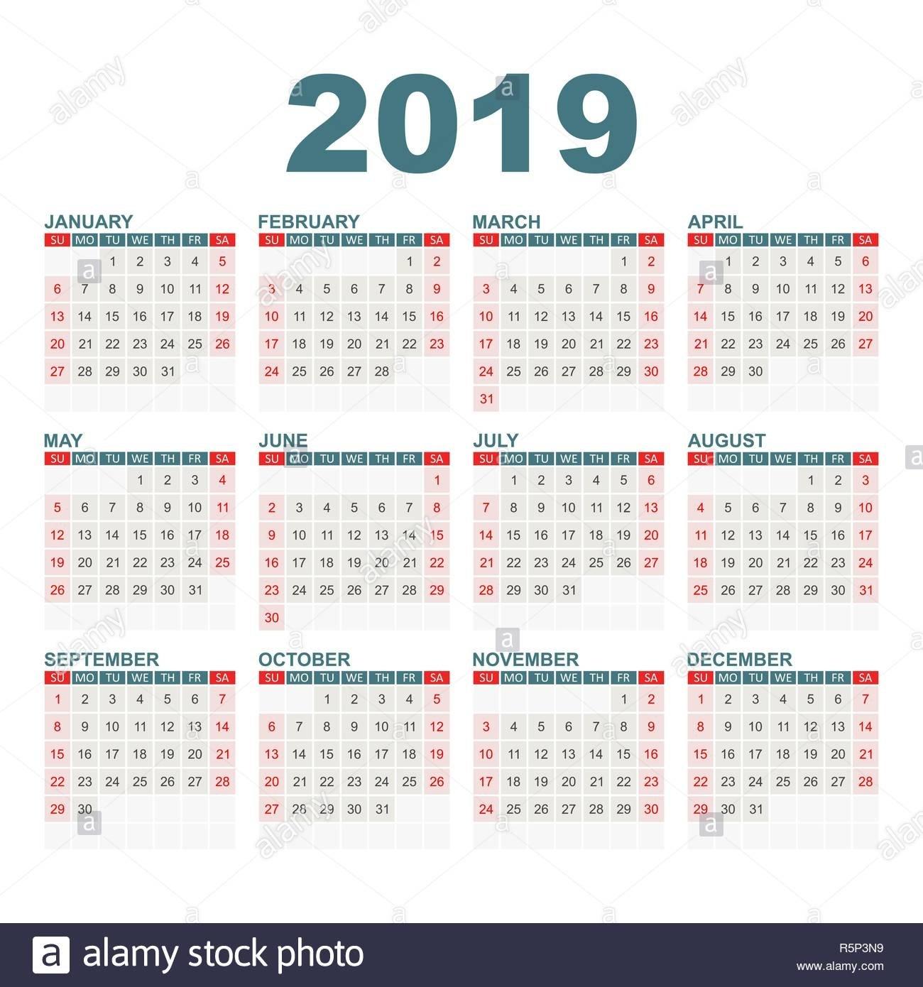Calendar 2019 Year In Simple Style. Calendar Planner Design Template Calendar 2019 Agenda