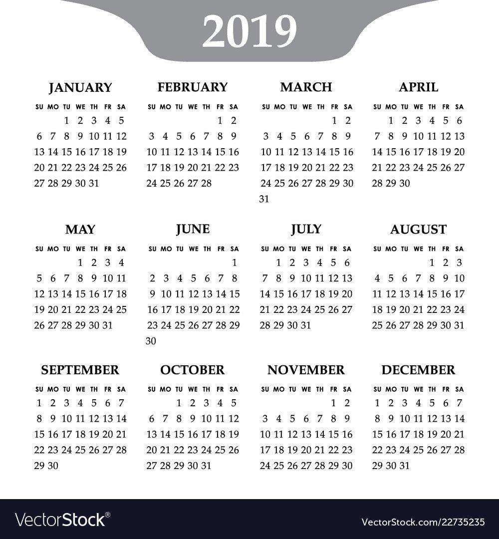 Calendar 2019 Year On A White Background Week Vector Image Calendar Week 35 2019