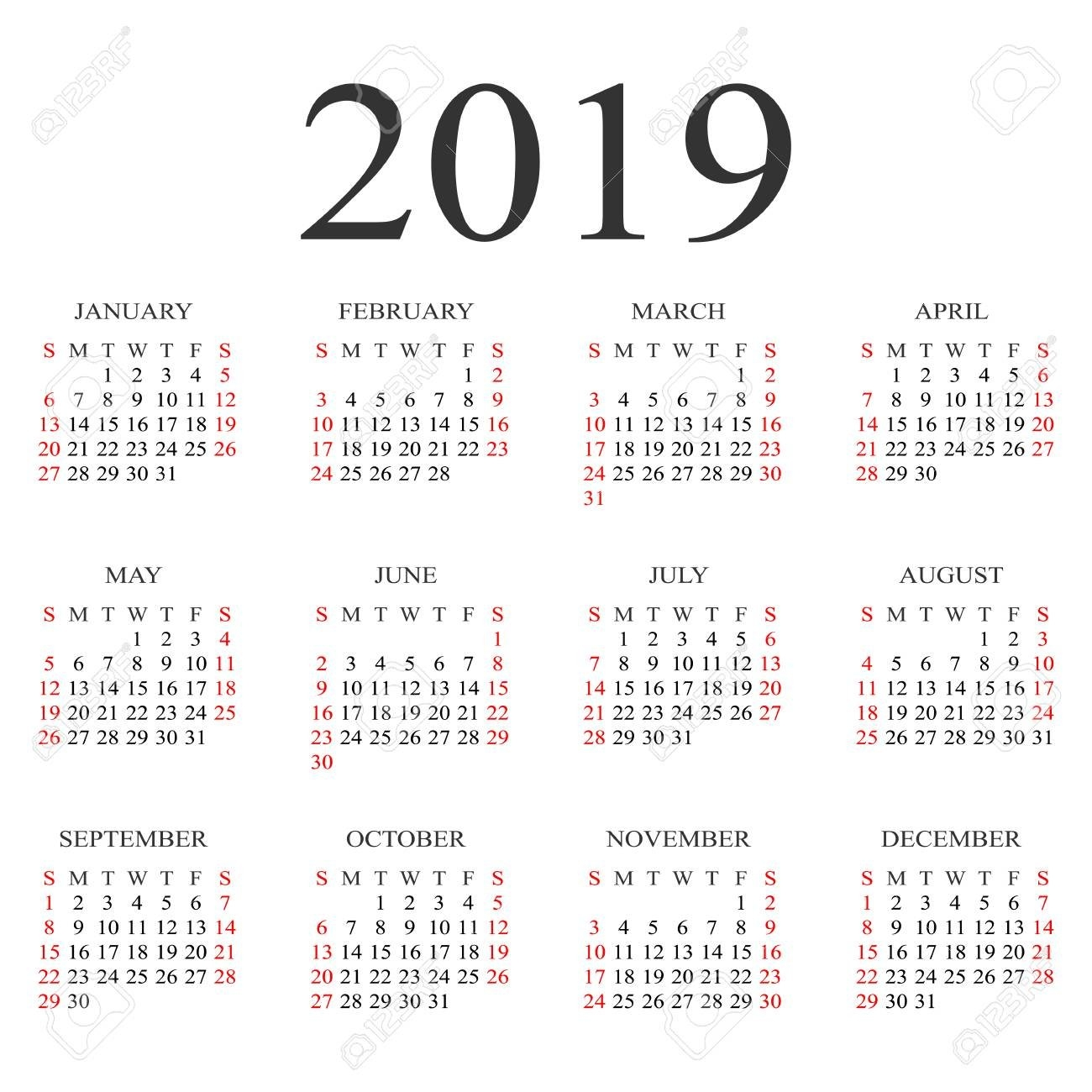Calendar 2019 Year Vector Design Template. Simple 2019 Year Calendar Calendar 2019 Year