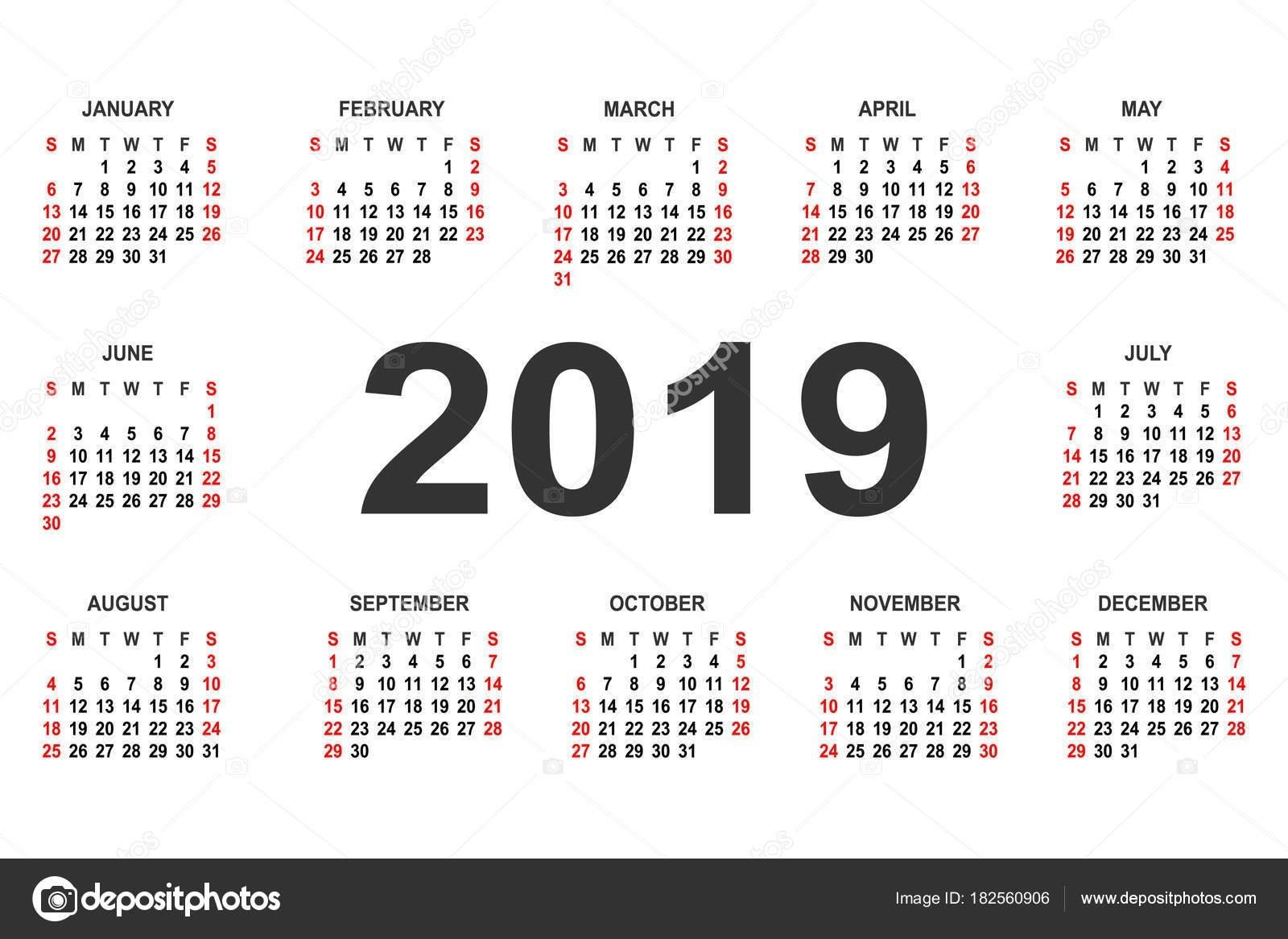Calendar 2019 Year Vector Design Template — Stock Vector © Forden Calendar 2019 Mexico