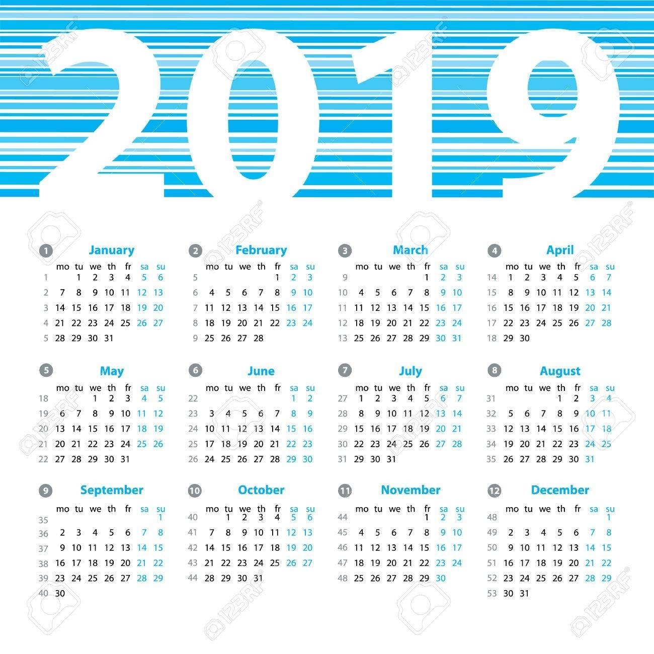 Calendar 2019 Year Vector Design Template With Week Numbers And Week 8 Calendar 2019