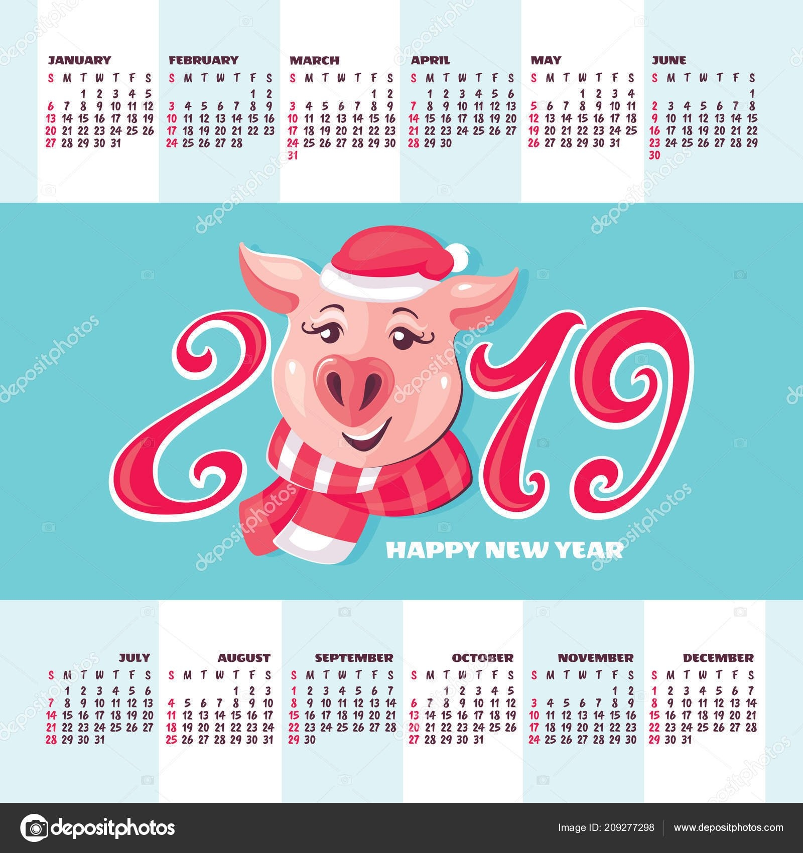 Calendar 2019 Year Vector Illustration Pig Symbol 2019 Year — Stock Calendar 2019 Year Of The Pig