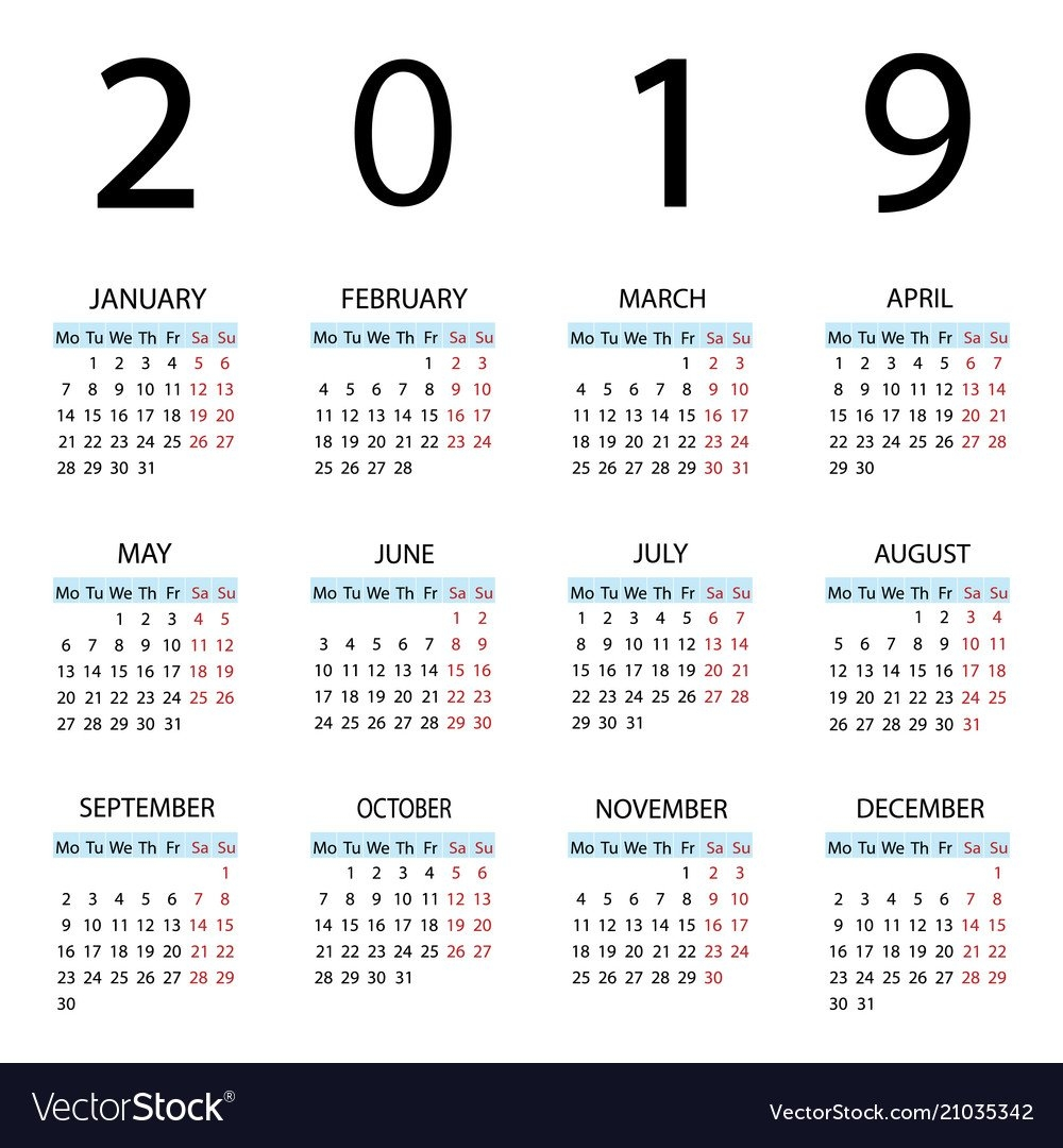 Calendar 2019 Year Week Starts With Monday Vector Image Week 9 Calendar 2019