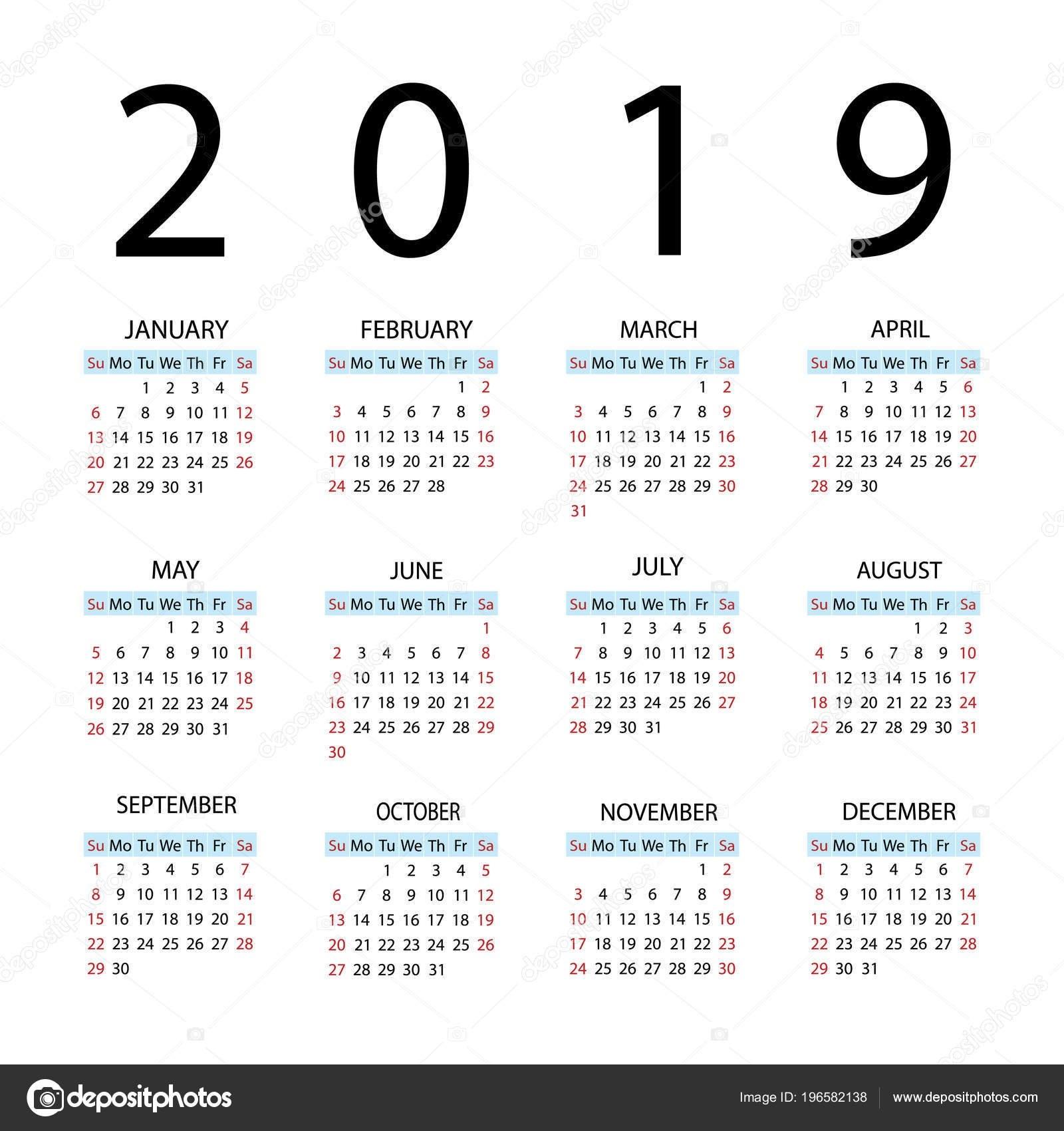 Calendar 2019 Year. Week Starts With Sunday — Stock Vector Calendar Week 15 2019