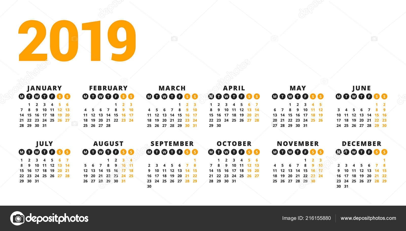Calendar 2019 Year White Background Week Starts Monday Columns Rows 2 Column Calendar 2019