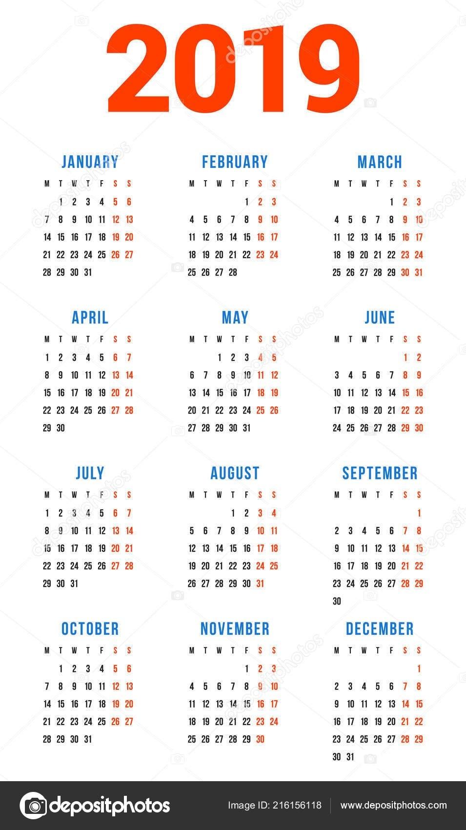 Calendar 2019 Year White Background Week Starts Monday Columns Rows 3 Column Calendar 2019