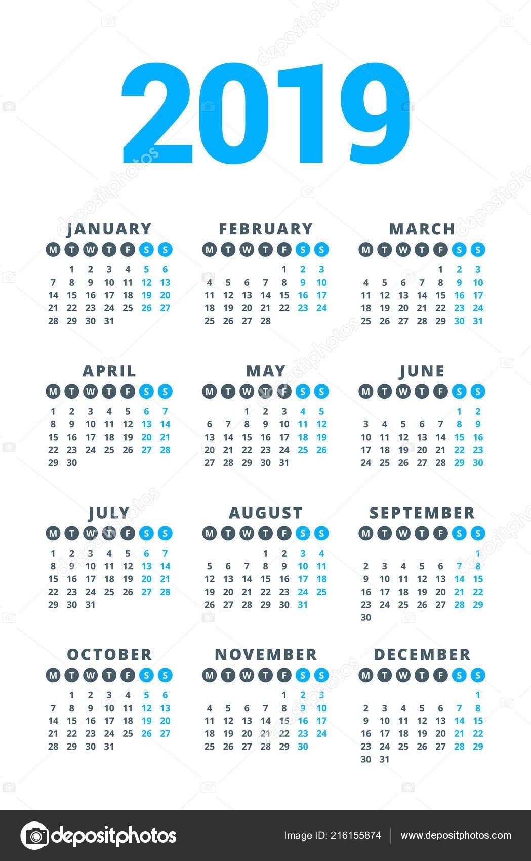 Calendar 2019 Year White Background Week Starts Monday Columns Rows Calendar 2019 3 Columns